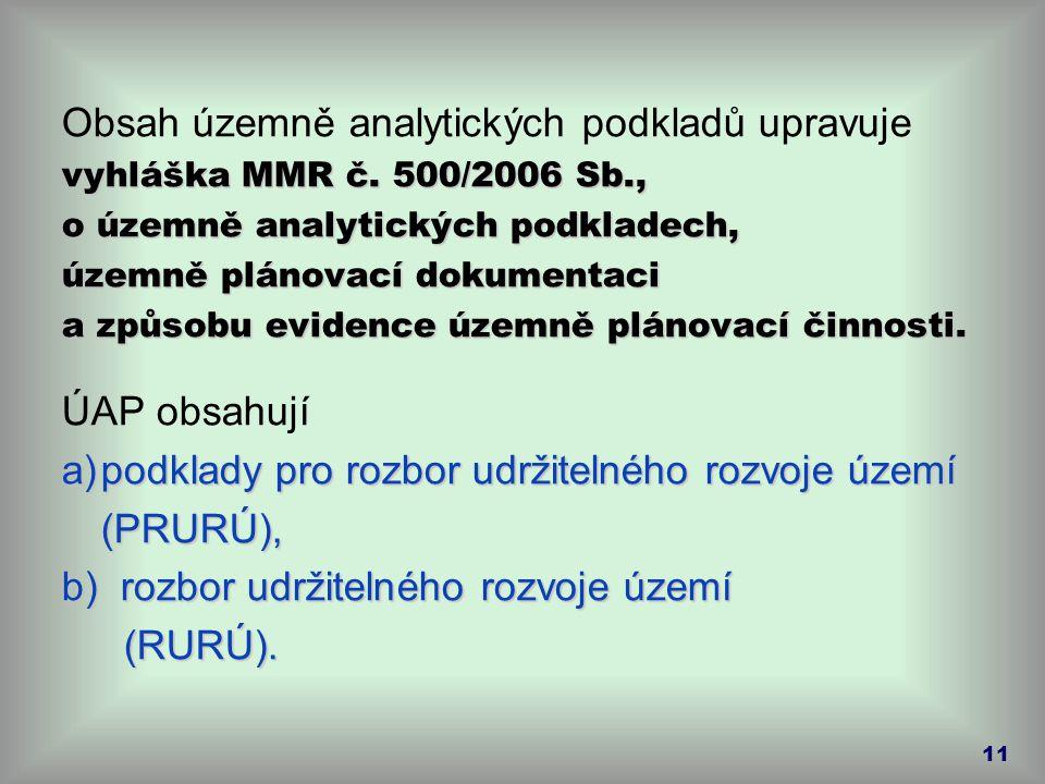 Obsah územně analytických podkladů upravuje vyhláška MMR č. 500/2006 Sb., o územně analytických podkladech, územně plánovací dokumentaci a způsobu evi