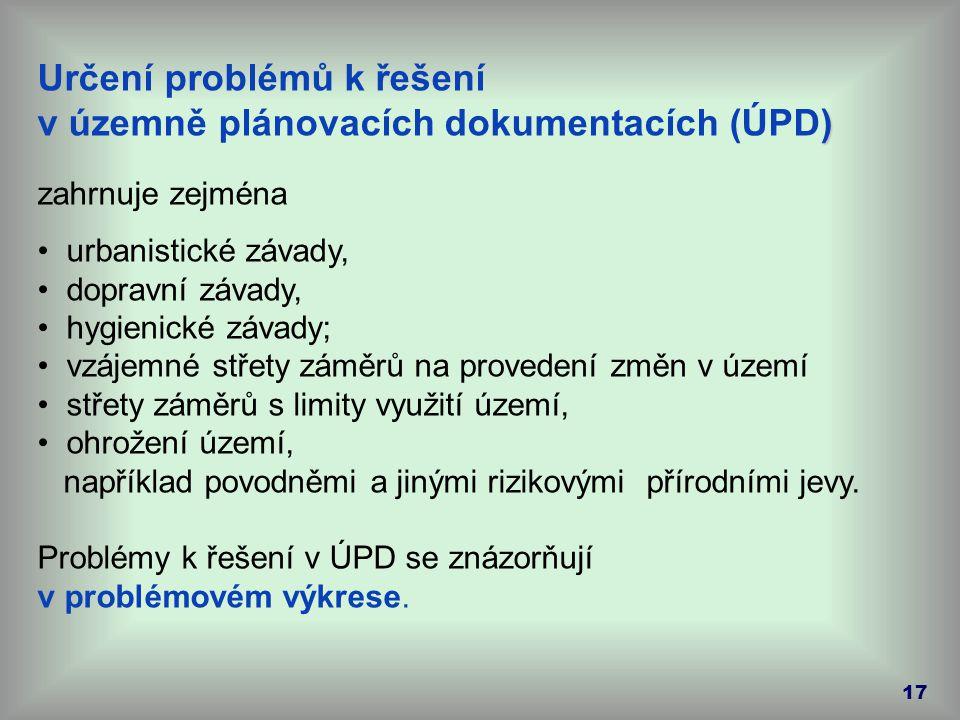 17 Určení problémů k řešení ) v územně plánovacích dokumentacích (ÚPD) zahrnuje zejména urbanistické závady, dopravní závady, hygienické závady; vzáje
