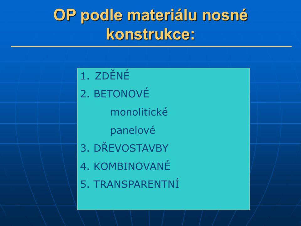 OP podle materiálu nosné konstrukce: 1. ZDĚNÉ 2. BETONOVÉ monolitické panelové 3. DŘEVOSTAVBY 4. KOMBINOVANÉ 5. TRANSPARENTNÍ