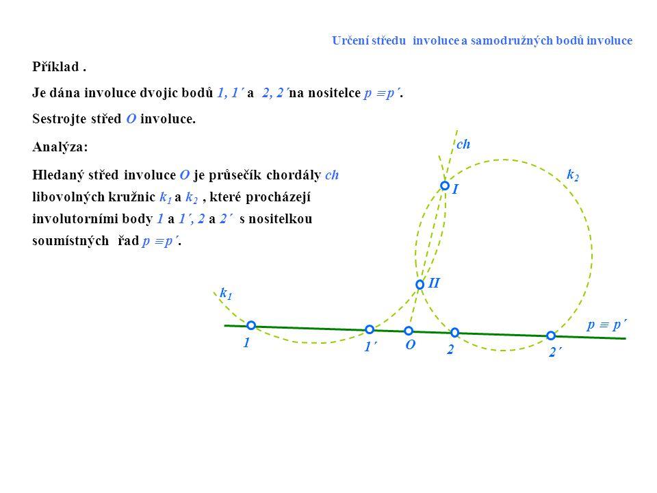 Určení středu involuce a samodružných bodů involuce k1k1 k2k2 2´2´ 1 O I I 1´1´ 2 p  p´ Příklad. Je dána involuce dvojic bodů 1, 1´ a 2, 2´na nositel