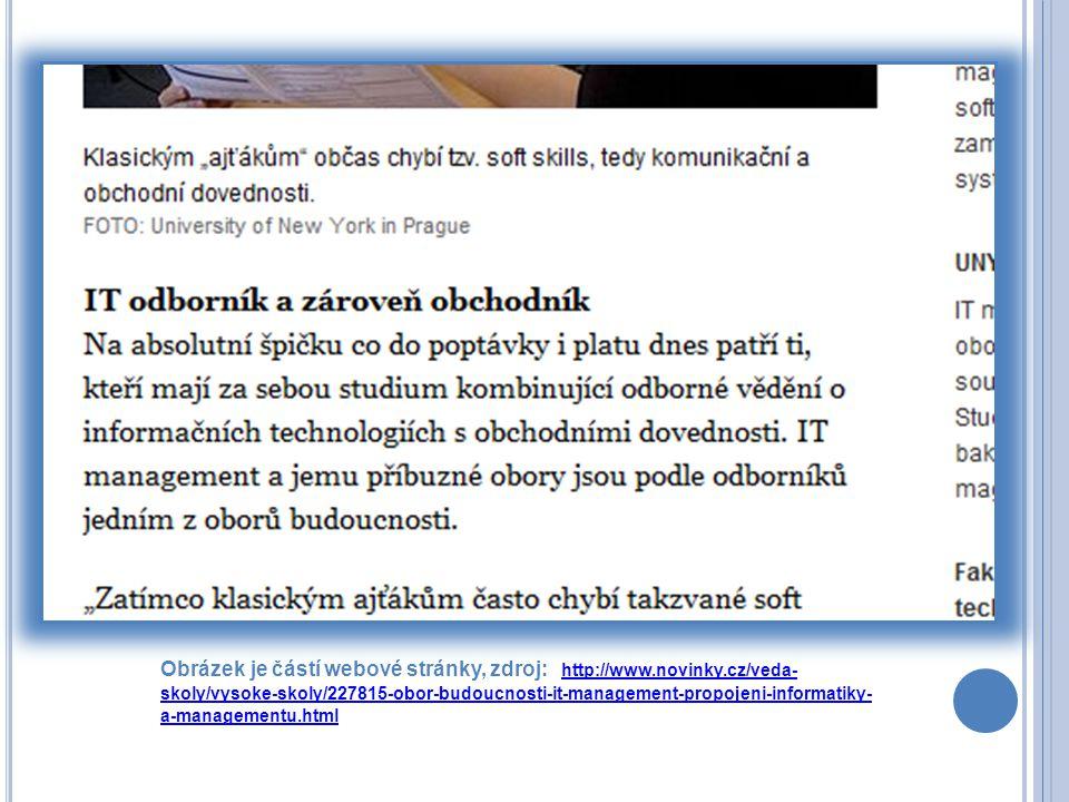 Obrázek je částí webové stránky, zdroj: http://www.novinky.cz/veda- skoly/vysoke-skoly/227815-obor-budoucnosti-it-management-propojeni-informatiky- a-