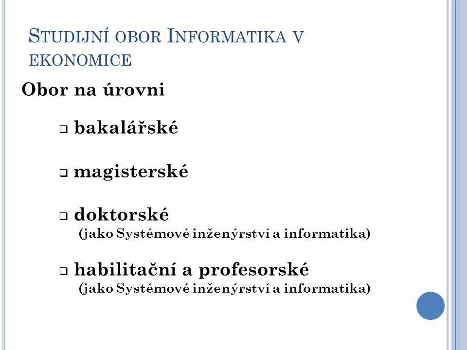 S TUDIJNÍ OBOR I NFORMATIKA V EKONOMICE Obor na úrovni  bakalářské  magisterské  doktorské (jako Systémové inženýrství a informatika)  habilitační