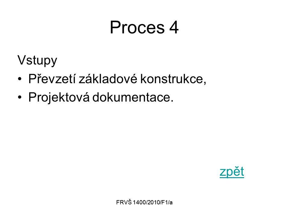 FRVŠ 1400/2010/F1/a Proces 4 Vstupy Převzetí základové konstrukce, Projektová dokumentace. zpět