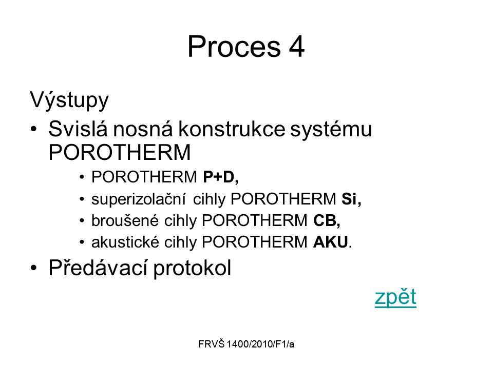 FRVŠ 1400/2010/F1/a Proces 4 Výstupy Svislá nosná konstrukce systému POROTHERM POROTHERM P+D, superizolační cihly POROTHERM Si, broušené cihly POROTHERM CB, akustické cihly POROTHERM AKU.