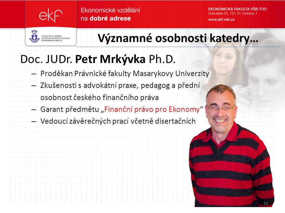 Významné osobnosti katedry… Doc. JUDr. Petr Mrkývka Ph.D. – Proděkan Právnické fakulty Masarykovy Univerzity – Zkušenosti s advokátní praxe, pedagog a