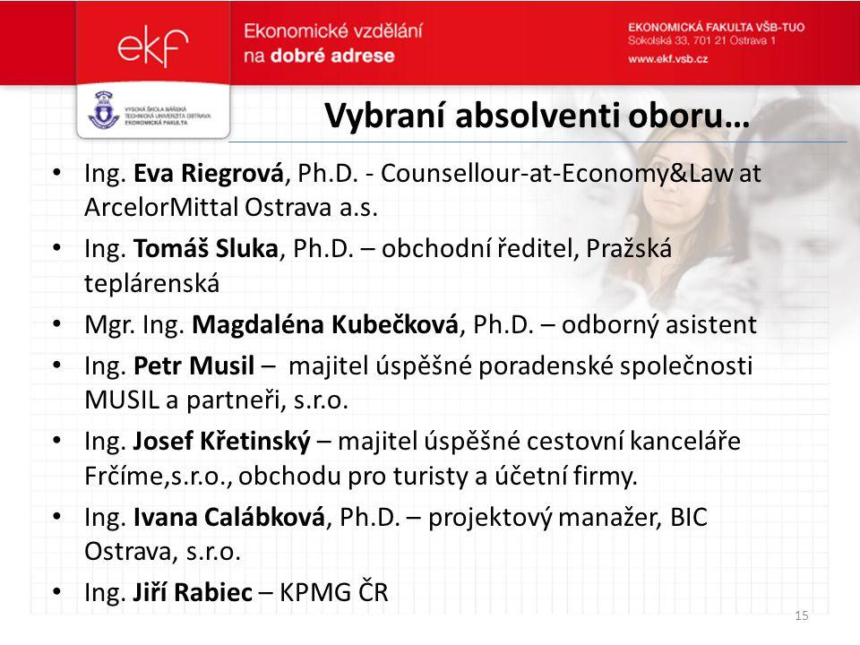 Vybraní absolventi oboru… Ing. Eva Riegrová, Ph.D. - Counsellour-at-Economy&Law at ArcelorMittal Ostrava a.s. Ing. Tomáš Sluka, Ph.D. – obchodní ředit