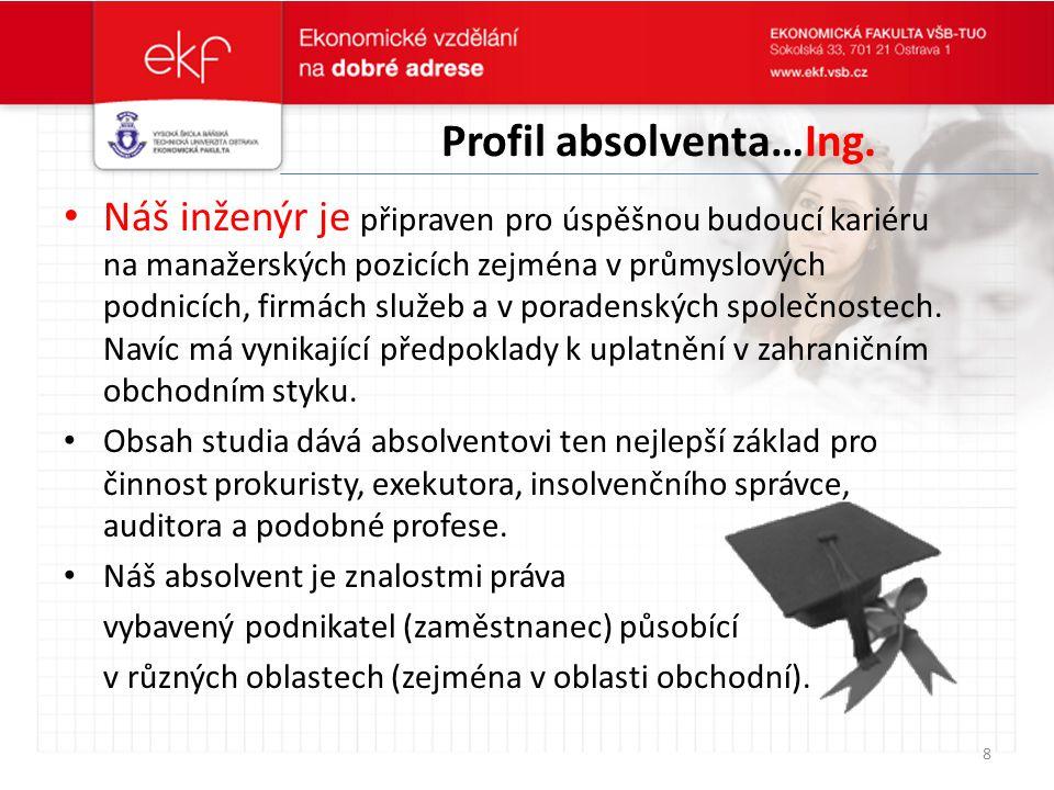 Profil absolventa…Ing. Náš inženýr je připraven pro úspěšnou budoucí kariéru na manažerských pozicích zejména v průmyslových podnicích, firmách služeb