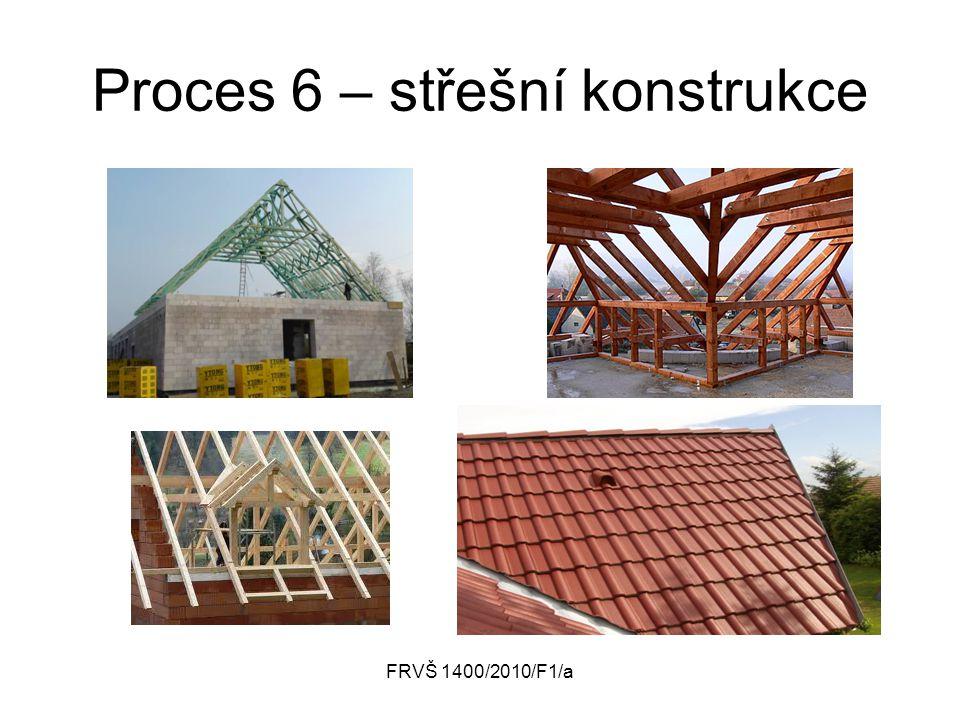 FRVŠ 1400/2010/F1/a Proces 6 – střešní konstrukce Střešní konstrukce Vstup Měření, kritéria, meze Procedury, postupy Výstup Zdroje Regulátory Vlastník procesu