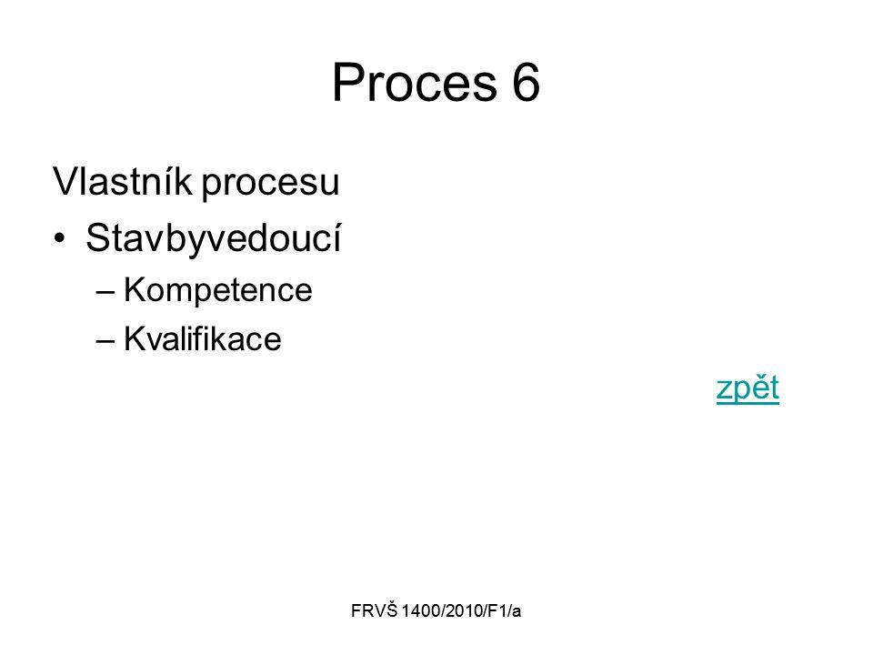 FRVŠ 1400/2010/F1/a Proces 6 Vlastník procesu Stavbyvedoucí –Kompetence –Kvalifikace zpět