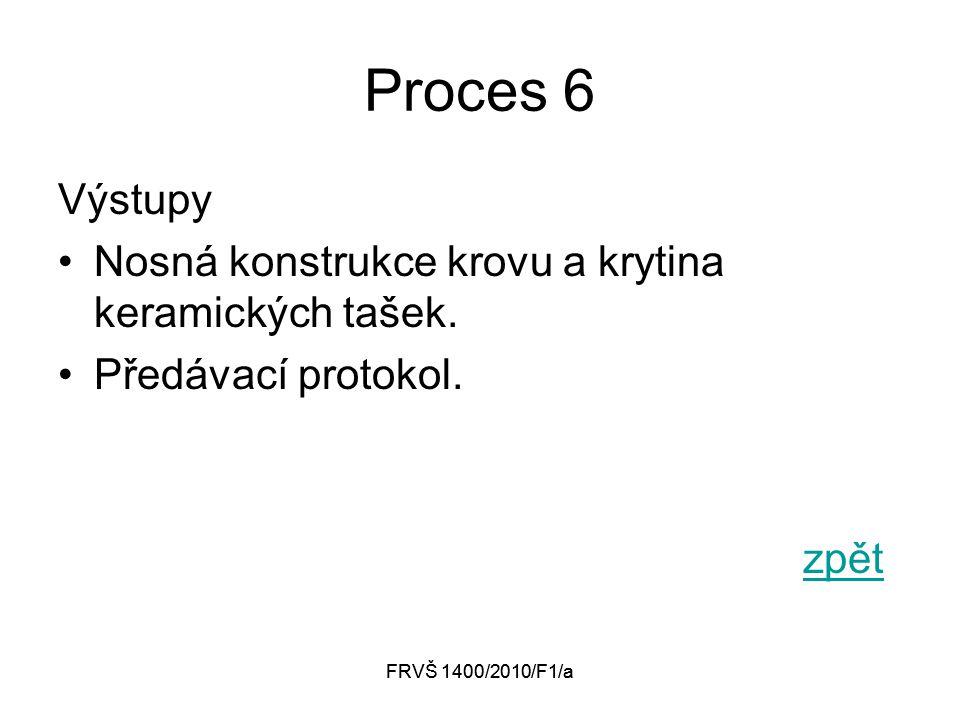 FRVŠ 1400/2010/F1/a Proces 6 Zdroje Lidské zdroje, Infrastruktura –Pracovní nástroje, –Stroje.