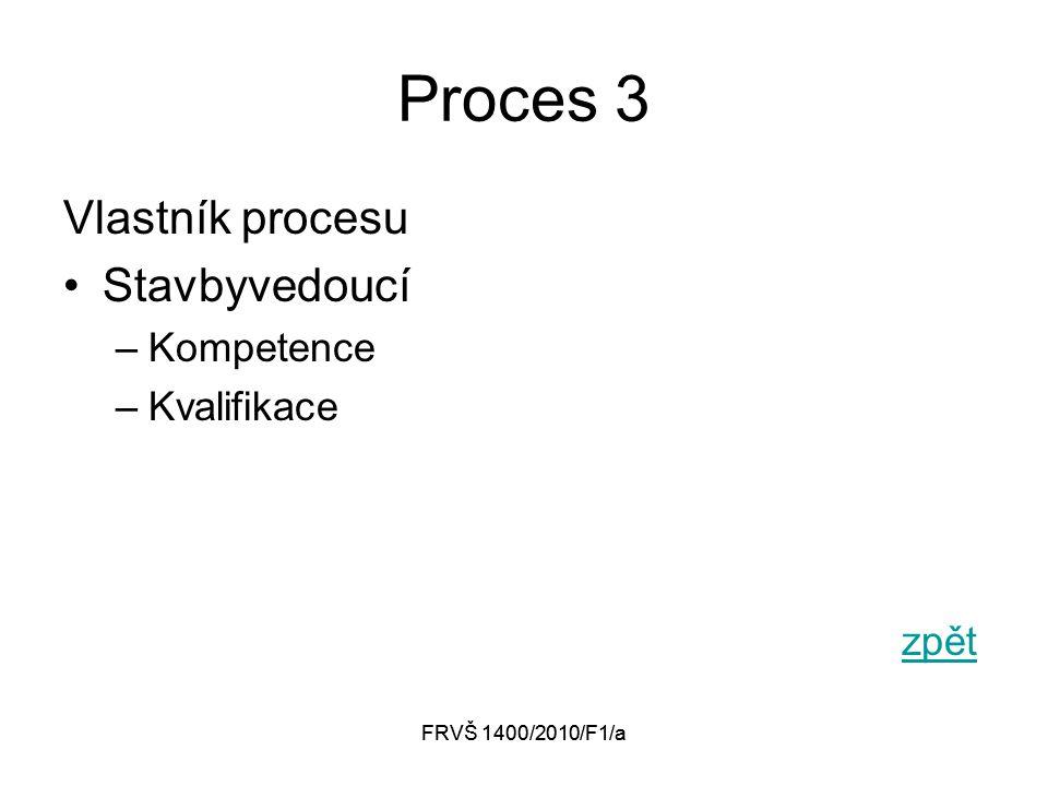 FRVŠ 1400/2010/F1/a Proces 3 Vlastník procesu Stavbyvedoucí –Kompetence –Kvalifikace zpět