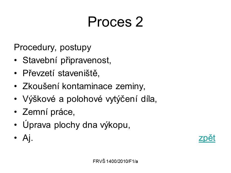 FRVŠ 1400/2010/F1/a Proces 2 Procedury, postupy Stavební připravenost, Převzetí staveniště, Zkoušení kontaminace zeminy, Výškové a polohové vytýčení díla, Zemní práce, Úprava plochy dna výkopu, Aj.zpětzpět