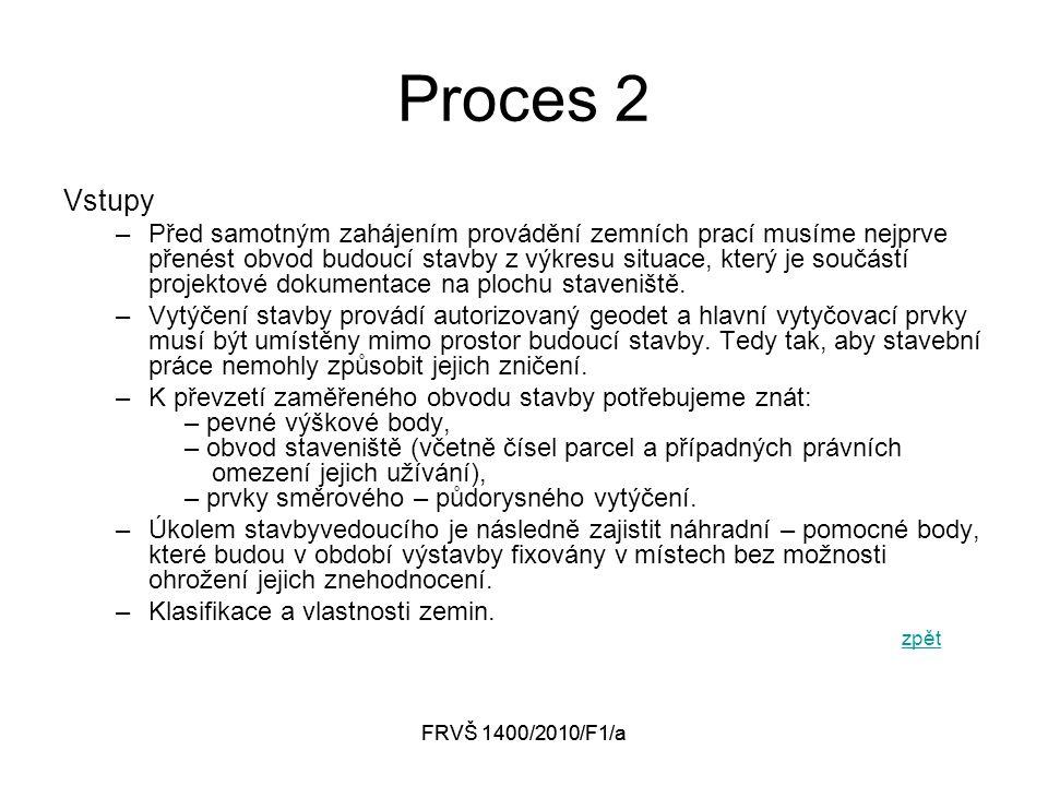 FRVŠ 1400/2010/F1/a Proces 2 Vstupy –Před samotným zahájením provádění zemních prací musíme nejprve přenést obvod budoucí stavby z výkresu situace, který je součástí projektové dokumentace na plochu staveniště.