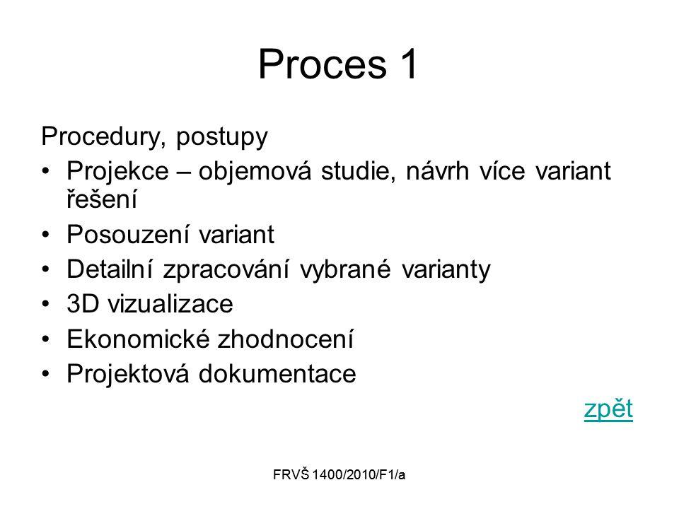 FRVŠ 1400/2010/F1/a Proces 1 Procedury, postupy Projekce – objemová studie, návrh více variant řešení Posouzení variant Detailní zpracování vybrané varianty 3D vizualizace Ekonomické zhodnocení Projektová dokumentace zpět