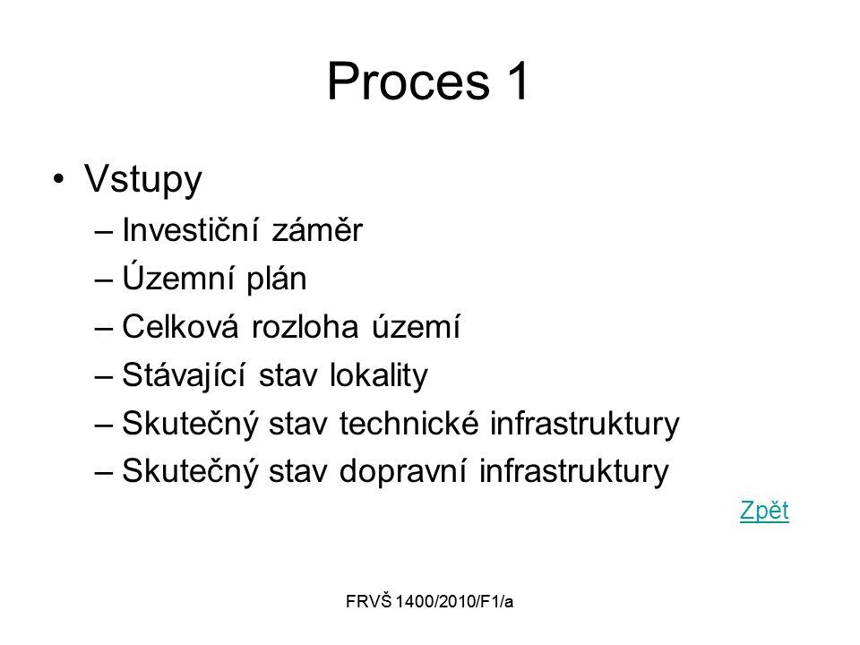FRVŠ 1400/2010/F1/a Proces 1 Vstupy –Investiční záměr –Územní plán –Celková rozloha území –Stávající stav lokality –Skutečný stav technické infrastruktury –Skutečný stav dopravní infrastruktury Zpět