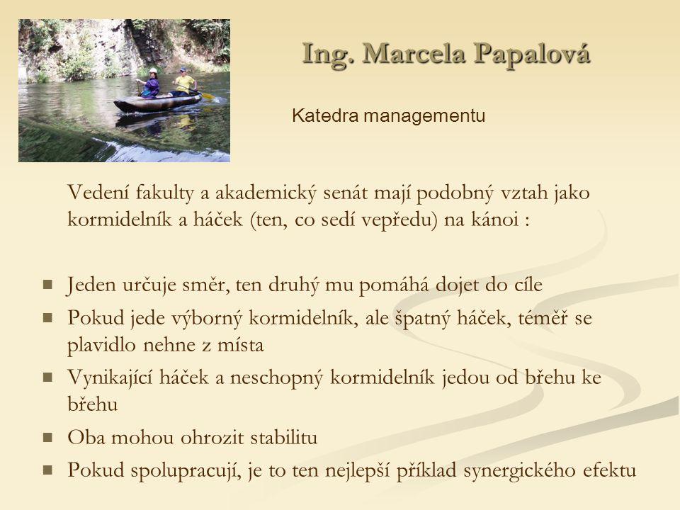 Ing. Marcela Papalová Ing.