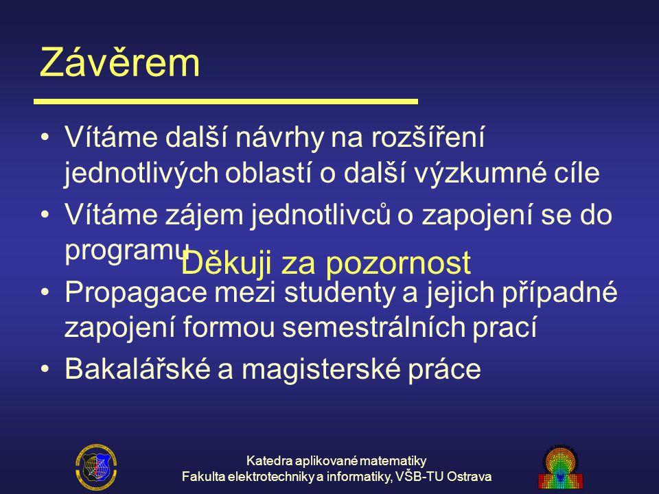 Katedra aplikované matematiky Fakulta elektrotechniky a informatiky, VŠB-TU Ostrava Závěrem Vítáme další návrhy na rozšíření jednotlivých oblastí o da