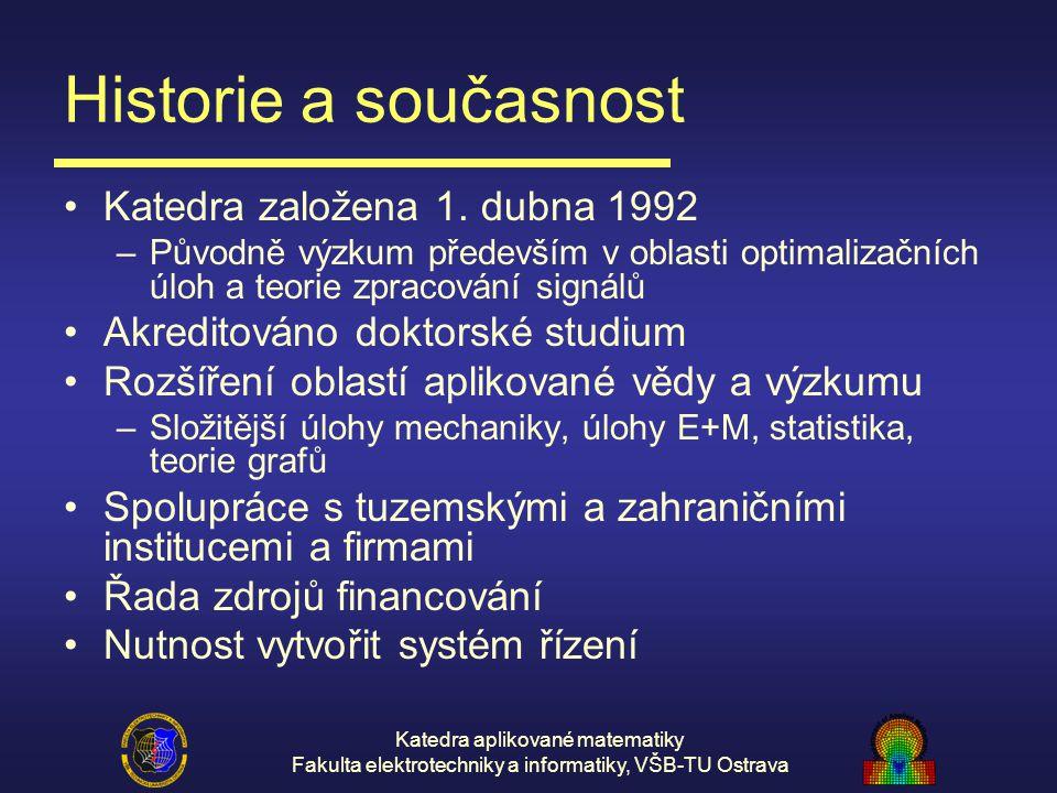 Katedra aplikované matematiky Fakulta elektrotechniky a informatiky, VŠB-TU Ostrava Historie a současnost Katedra založena 1. dubna 1992 –Původně výzk
