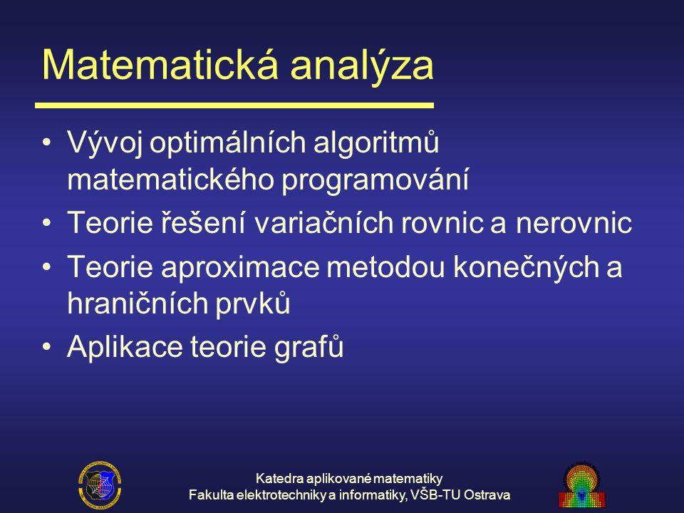 Katedra aplikované matematiky Fakulta elektrotechniky a informatiky, VŠB-TU Ostrava Matematická analýza Vývoj optimálních algoritmů matematického prog