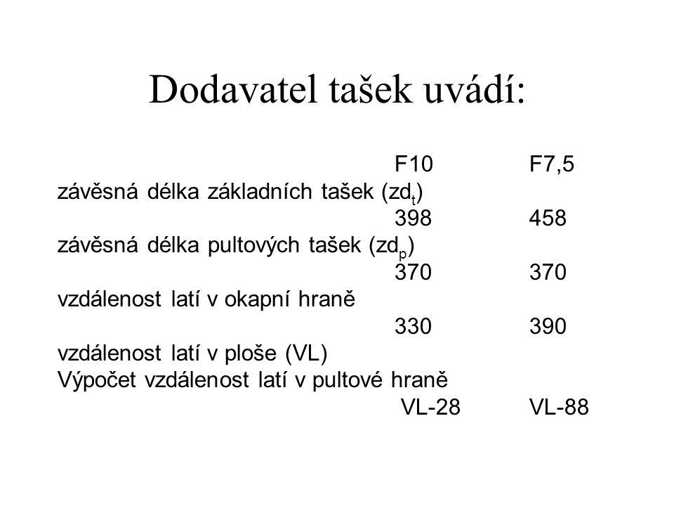 Dodavatel tašek uvádí: F10 F7,5 závěsná délka základních tašek (zd t ) 398458 závěsná délka pultových tašek (zd p ) 370370 vzdálenost latí v okapní hr