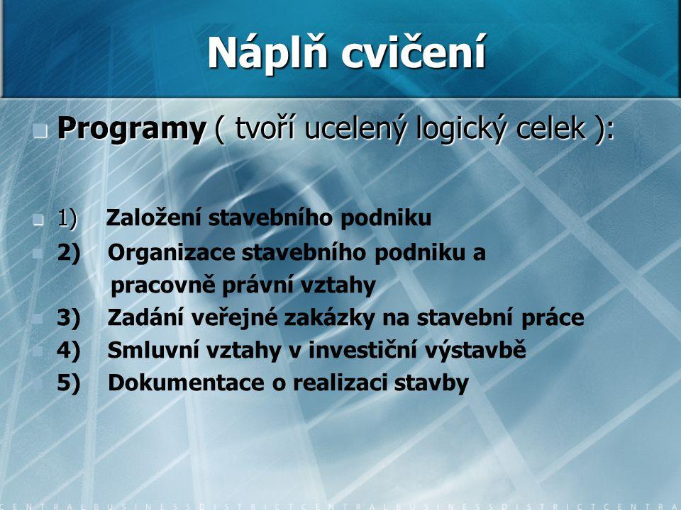 Programy ( tvoří ucelený logický celek ): Programy ( tvoří ucelený logický celek ): 1) 1) Založení stavebního podniku 2) Organizace stavebního podniku