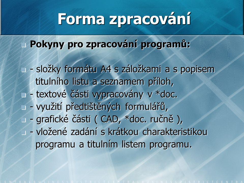 Pokyny pro zpracování programů: Pokyny pro zpracování programů: - složky formátu A4 s záložkami a s popisem - složky formátu A4 s záložkami a s popise