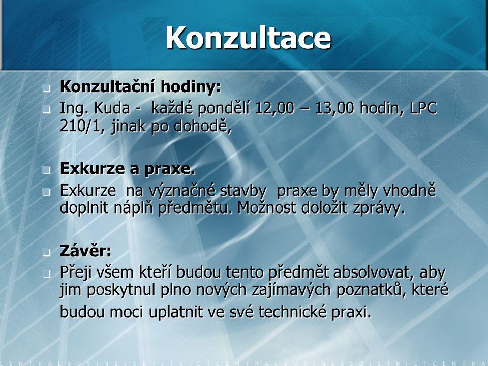 Konzultační hodiny: Konzultační hodiny: Ing. Kuda - každé pondělí 12,00 – 13,00 hodin, LPC 210/1, jinak po dohodě, Ing. Kuda - každé pondělí 12,00 – 1