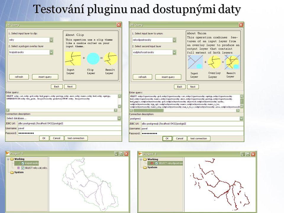 Testování pluginu nad dostupnými daty