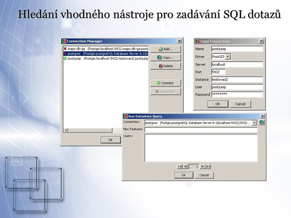 Hledání vhodného nástroje pro zadávání SQL dotazů