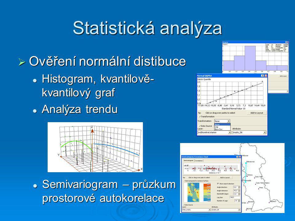 Statistická analýza  Ověření normální distibuce Histogram, kvantilově- kvantilový graf Histogram, kvantilově- kvantilový graf Analýza trendu Analýza