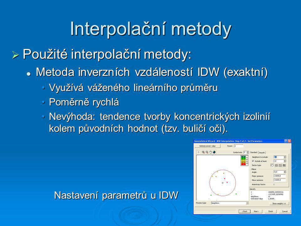 Interpolační metody  Použité interpolační metody: Metoda inverzních vzdáleností IDW (exaktní) Metoda inverzních vzdáleností IDW (exaktní) Využívá váž