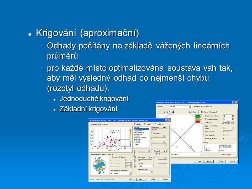 Krigování (aproximační) Krigování (aproximační) Odhady počítány na základě vážených lineárních průměrůOdhady počítány na základě vážených lineárních p