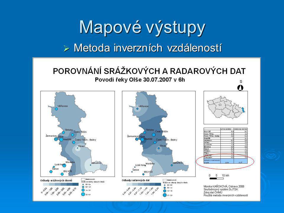 Mapové výstupy  Metoda inverzních vzdáleností
