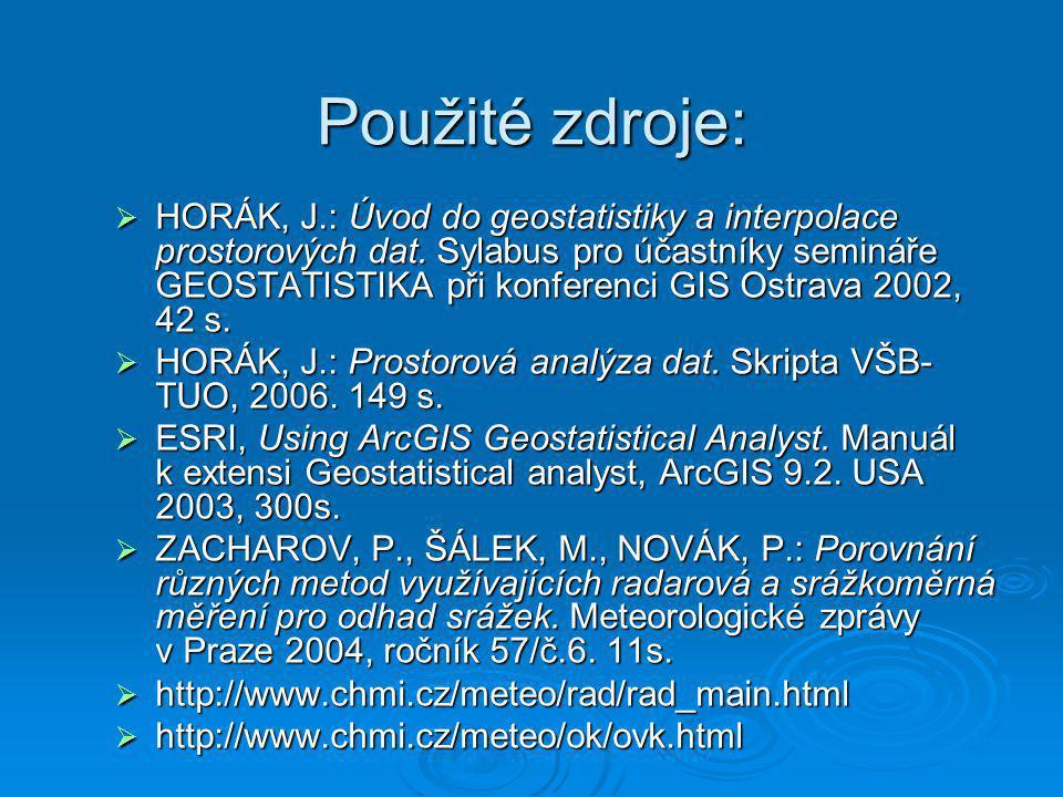 Použité zdroje:  HORÁK, J.: Úvod do geostatistiky a interpolace prostorových dat. Sylabus pro účastníky semináře GEOSTATISTIKA při konferenci GIS Ost