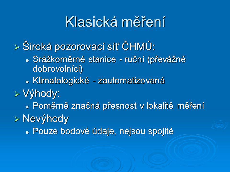 Klasická měření  Široká pozorovací síť ČHMÚ: Srážkoměrné stanice - ruční (převážně dobrovolníci) Srážkoměrné stanice - ruční (převážně dobrovolníci)