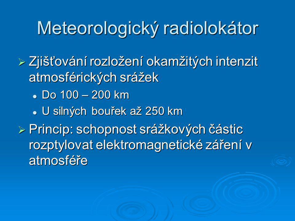 Meteorologický radiolokátor  Zjišťování rozložení okamžitých intenzit atmosférických srážek Do 100 – 200 km Do 100 – 200 km U silných bouřek až 250 k