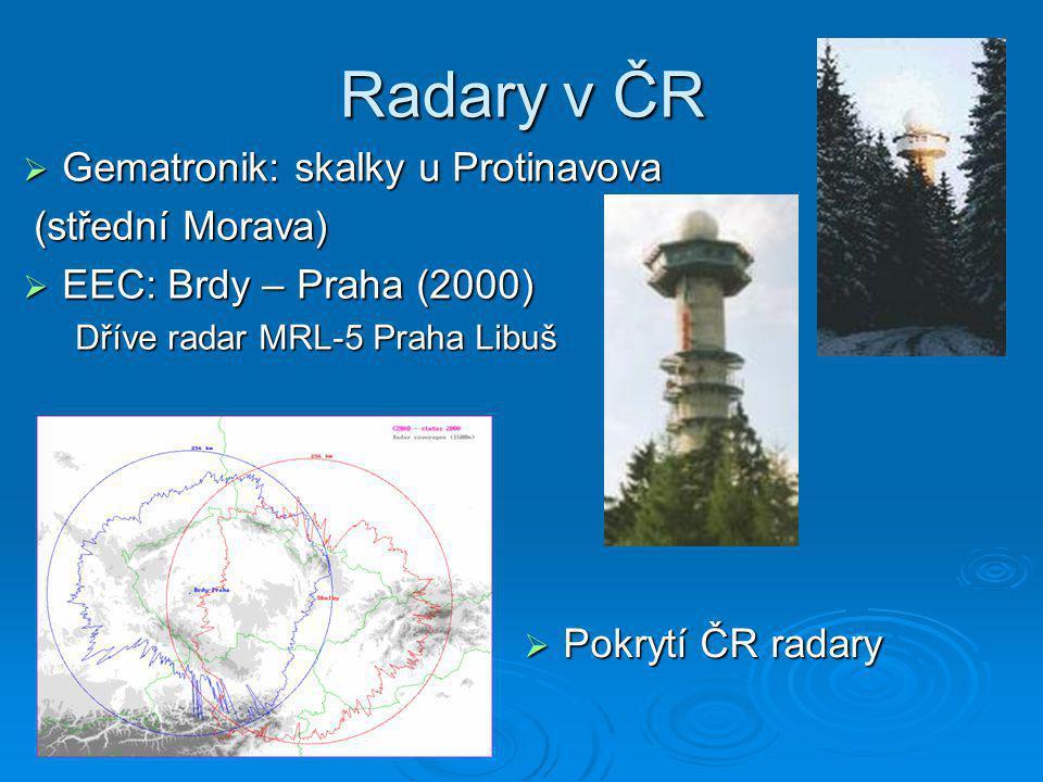 Radary v ČR  Gematronik: skalky u Protinavova (střední Morava) (střední Morava)  EEC: Brdy – Praha (2000) Dříve radar MRL-5 Praha Libuš  Pokrytí ČR