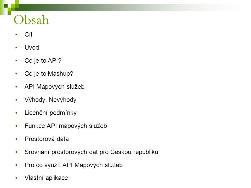 Cíl Úvod Co je to API? Co je to Mashup? API Mapových služeb Výhody, Nevýhody Licenční podmínky Funkce API mapových služeb Prostorová data Srovnání pro