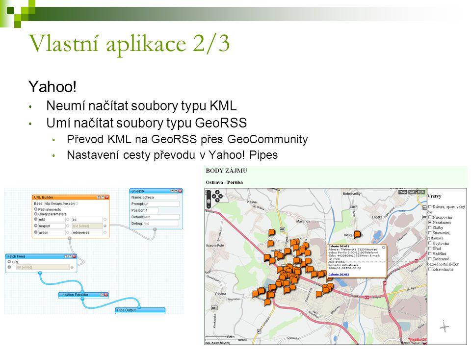 Vlastní aplikace 2/3 Yahoo! Neumí načítat soubory typu KML Umí načítat soubory typu GeoRSS Převod KML na GeoRSS přes GeoCommunity Nastavení cesty přev