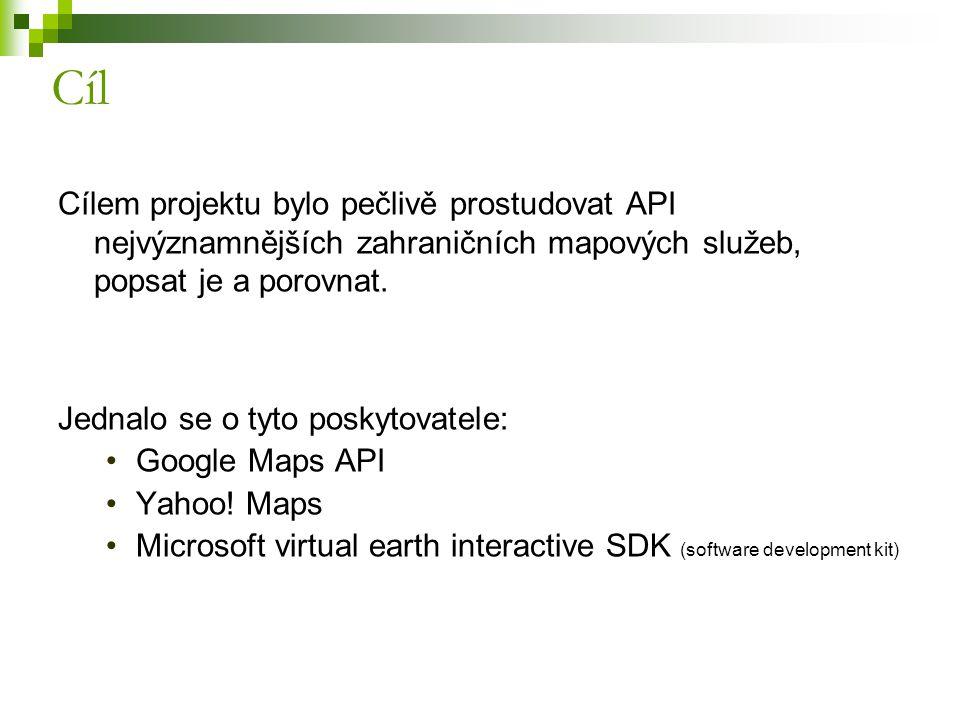 Cílem projektu bylo pečlivě prostudovat API nejvýznamnějších zahraničních mapových služeb, popsat je a porovnat. Jednalo se o tyto poskytovatele: Goog