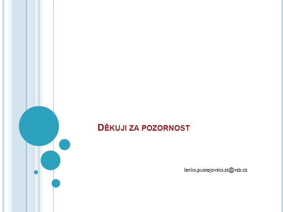 D ĚKUJI ZA POZORNOST lenka.pustejovska.st@vsb.cz