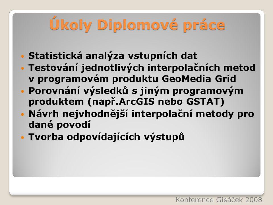 Úkoly Diplomové práce Statistická analýza vstupních dat Testování jednotlivých interpolačních metod v programovém produktu GeoMedia Grid Porovnání výsledků s jiným programovým produktem (např.ArcGIS nebo GSTAT) Návrh nejvhodnější interpolační metody pro dané povodí Tvorba odpovídajících výstupů Konference Gisáček 2008