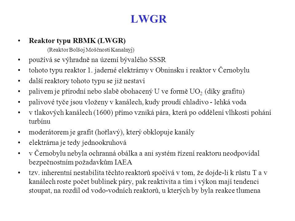 LWGR Reaktor typu RBMK (LWGR) (Reaktor Bolšoj Moščnosti Kanalnyj) používá se výhradně na území bývalého SSSR tohoto typu reaktor 1. jaderné elektrárny