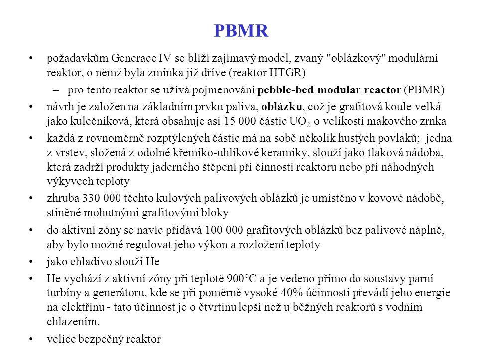 PBMR požadavkům Generace IV se blíží zajímavý model, zvaný