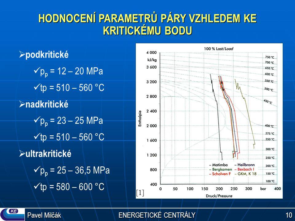 Pavel Milčák ENERGETICKÉ CENTRÁLY 10 HODNOCENÍ PARAMETRŮ PÁRY VZHLEDEM KE KRITICKÉMU BODU  podkritické p p = 12 – 20 MPa tp = 510 – 560 °C  nadkriti