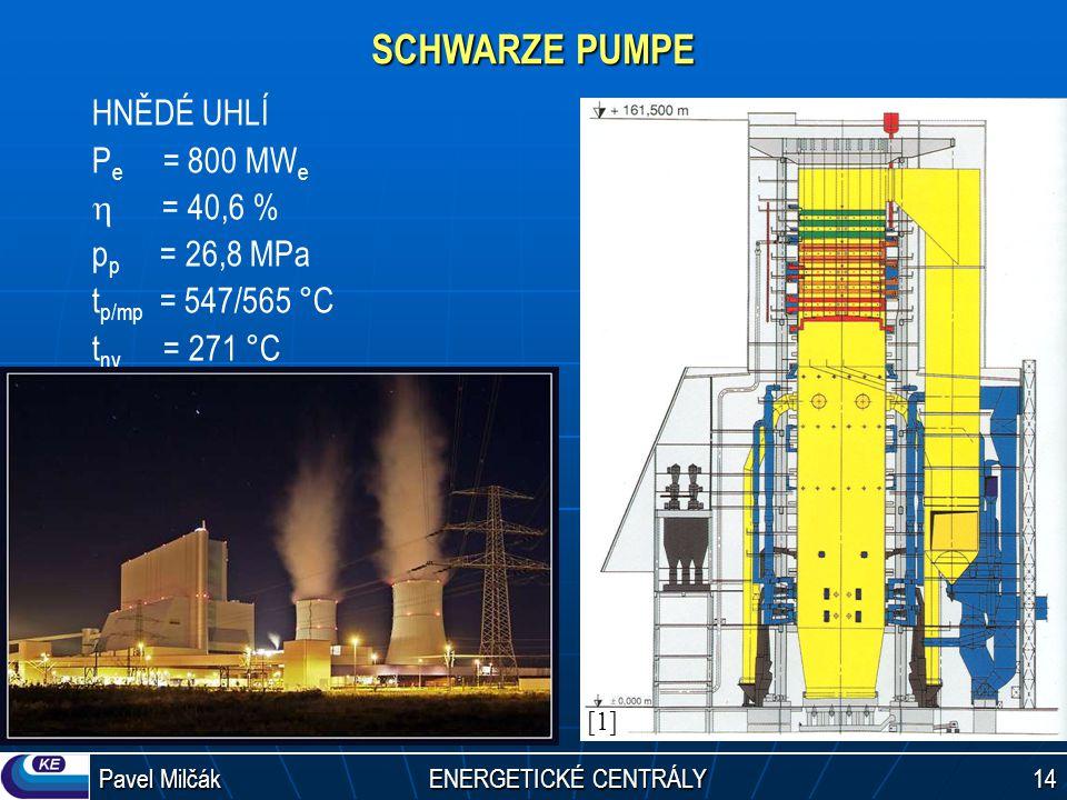 Pavel Milčák ENERGETICKÉ CENTRÁLY 14 SCHWARZE PUMPE HNĚDÉ UHLÍ P e = 800 MW e  = 40,6 % p p = 26,8 MPa t p/mp = 547/565 °C t nv = 271 °C [1][1]