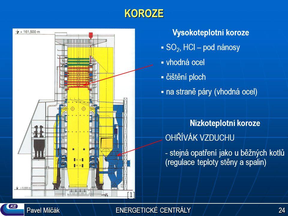 Pavel Milčák ENERGETICKÉ CENTRÁLY 24 KOROZE Vysokoteplotní koroze  SO 2, HCl – pod nánosy  vhodná ocel  čištění ploch  na straně páry (vhodná ocel) Nízkoteplotní koroze OHŘÍVÁK VZDUCHU - stejná opatření jako u běžných kotlů (regulace teploty stěny a spalin) [1][1]