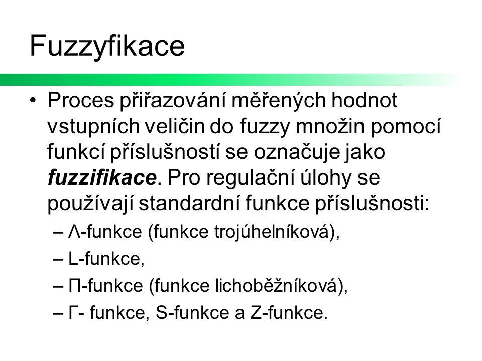 Fuzzyfikace Proces přiřazování měřených hodnot vstupních veličin do fuzzy množin pomocí funkcí příslušností se označuje jako fuzzifikace. Pro regulačn
