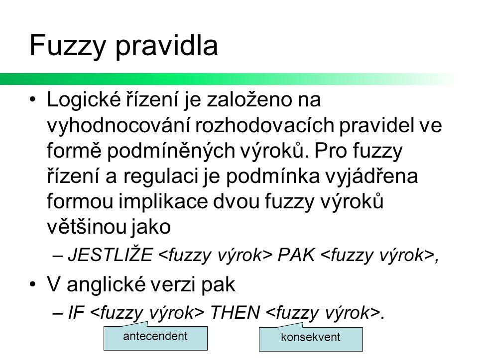 Fuzzy pravidla Logické řízení je založeno na vyhodnocování rozhodovacích pravidel ve formě podmíněných výroků. Pro fuzzy řízení a regulaci je podmínka