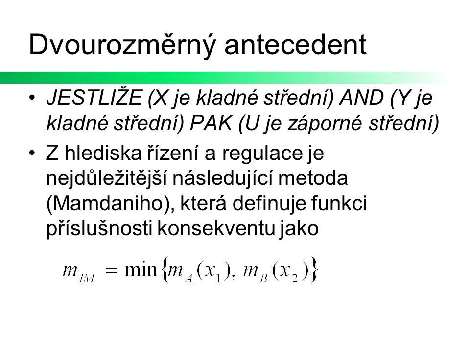 Dvourozměrný antecedent JESTLIŽE (X je kladné střední) AND (Y je kladné střední) PAK (U je záporné střední) Z hlediska řízení a regulace je nejdůležit